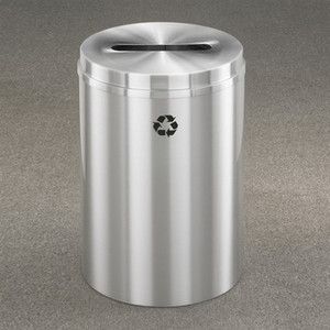 Recycling Bin, RecyclePro Waste Receptacle for Paper, 33 gal, Satin Aluminum