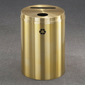 Dual Purpose Recycle Bins, RecyclePro (Paper, Bottle, Cans) 33 gal Satin Brass