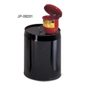 "Justrite Metal Funnel, for 5 gal pails, self-closing lid & 1"" flame arrester"