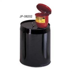 """Justrite Metal Funnel, for 5 gal pails, manual lid & 1"""" flame arrester"""