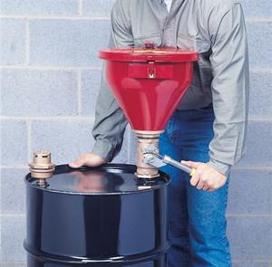 Justrite Metal Drum Funnel, flame arrester, tip-over protection kit