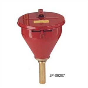"Justrite Large Metal Drum Funnel, self-closing lid, 6"" flame arrester"