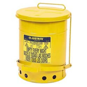 Justrite gal Oily Waste Can, Foot Operated Lever Cover