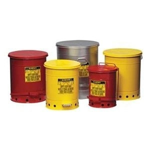 Justrite gal Oily Waste Can, Sound-Guard Quiet, Foot Operated