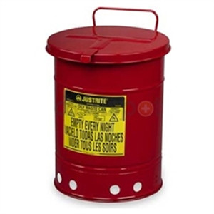 Justrite 6 gal Oily Waste Can, Hand Operated Cover, Red or Yellow