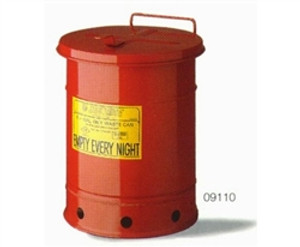 Justrite Oily Waste Can, 21 gal, Hand Operated Cover