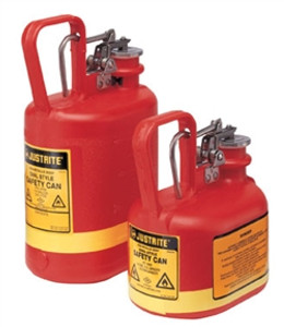 Justrite 1/2 gal Oval PE Type I Safety Cans w/ Steel Hardware