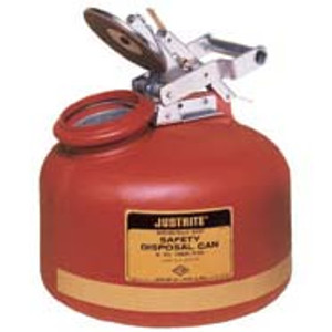 Justrite 2 gal Polyethylene Liquid Disposal Can, Steel Hardware