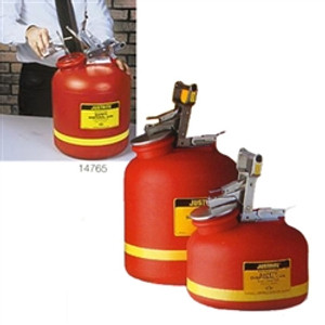 Justrite Safety Can, 5 gal Poly Disposal Can, Steel Hardware
