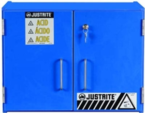 Justrite 24120 Wood Laminate Acid and Corrosive Cabinet 15 Liter blue