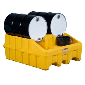 Justrite 28666 Drum Stacking System Base, 2 drums, Yellow