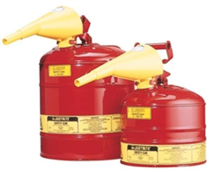 Justrite 7120110 2 gallon Steel Safety Can with Funnel