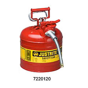 """Justrite Safety Can, 2 gal, Steel Type II AccuFlow, 5/8"""" Hose"""