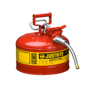 """Justrite Steel Safety Can, AccuFlow, 5/8"""" Hose, 2.5 gal, Type II"""