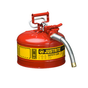 """Justrite Safety Can, 2.5 gal, Steel Type II AccuFlow, 1"""" Hose"""