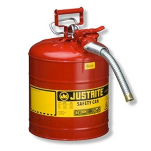 """Justrite Type II AccuFlow Safety Can, 5/8"""" Hose, 5 gal"""