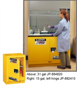 "Justrite Flammable Safety Cabinet for Under Fume Hood 24"" self-closing yellow"