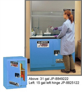 "Justrite Acid Fume Hood Cabinet, ChemCor Lined 15 gal 24"" blue RH self- close"