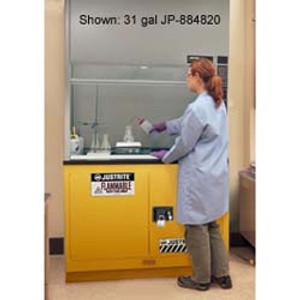 "Justrite Flammable Safety Cabinet for Under Fume Hood 30"" self-closing yellow"