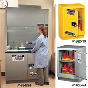 "Justrite Flammable Safety Cabinet for Under Fume Hood 30"" self-closing silver"