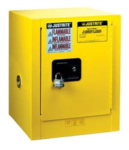 Justrite 890420 Flammable Countertop Cabinet, 4 gallon self-closing