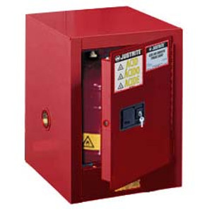 Justrite Flammable Countertop Cabinet, 4 gal red self-closing