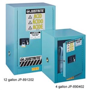 Justrite 890422 Acid Countertop Cabinet, 4 gallon blue self-closing