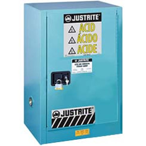 Justrite Acid Compac Cabinet, 12 gal, ChemCor Liner blue self-closing