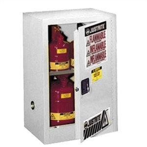 Justrite 891225 Flammable Compac Cabinet, 12 gallon white self-closing