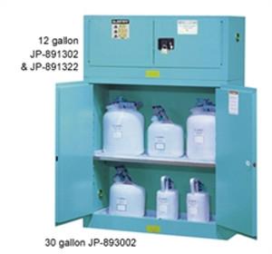 Justrite 891302 Acid Piggyback Cabinet, 12 gallon blue manual