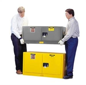 Justrite Flammable Piggyback Cabinet, 12 gal gray self-closing
