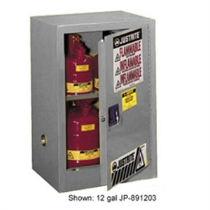 Justrite 891523 Flammable Compac Cabinet, 15 gallon gray self-closing