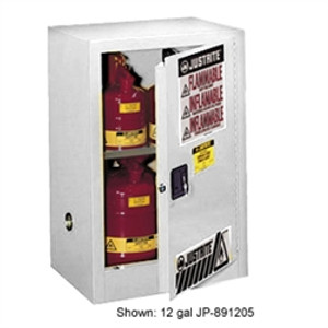Justrite 891525 Flammable Compac Cabinet, 15 gallon White self-closing