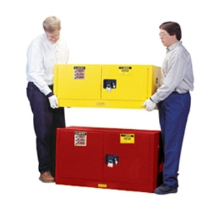 Justrite Flammable Piggyback Cabinet, 17 gal red self-closing