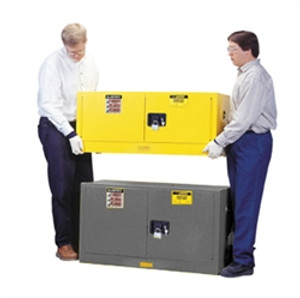 Justrite Flammable Piggyback Cabinet, 17 gal gray self-closing