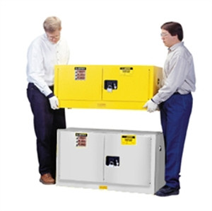 Justrite Flammable Piggyback Cabinet, 17 gal white self-closing