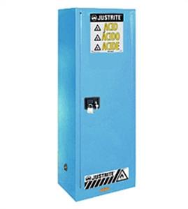 Justrite Slimline Acid Cabinet, 22 gal, ChemCor Liner blue self-closing