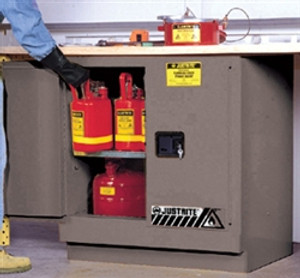 Justrite 892303 Under-Counter Flammable Cabinet, 22 gallon gray manual