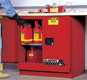 Justrite Under-Counter Flammable Cabinet, 22 gal red self-closing