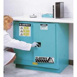 Justrite Under-Counter Acid Cabinet, 22 gal, ChemCor Liner blue self-closing