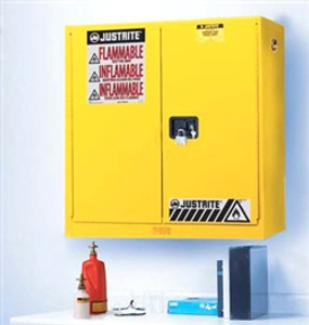 Justrite 893400 Wall Mount Flammable Cabinet, 20 gallon, manual