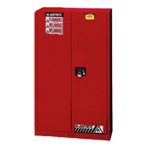 Justrite 894501 Flammable Safety Cabinet, 45 gallon red, manual