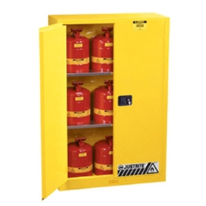 Justrite Flammable Cabinet Value Pack, 45 gal self-closing, 9 Safety Cans