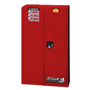 Justrite 894521 Flammable Safety Cabinet, 45 gallon red, self-closing