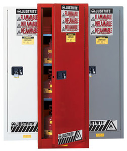 Justrite 895401 Flammable Cabinet, 54 gallon Deep Slimline red, manual