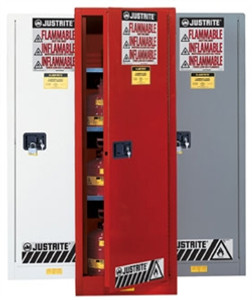 Justrite Flammable Cabinet, 54 gal Deep Slimline white, self-closing