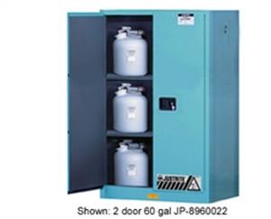 Justrite Acid Cabinet, 60 gal, ChemCor Liner blue, self-closing