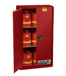 Justrite Flammable Safety Storage Cabinet, 60 gal red self-close, Sliding Door