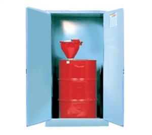 Justrite Acid Drum Cabinet, 55 gal blue, self-closing, drum support