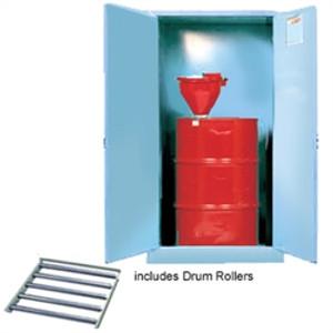 Justrite Acid Drum Cabinet, 55 gal, Rollers blue, self-closing